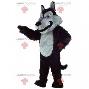 Mascotte grijze en zwarte wolf, kostuum grote boze wolf -