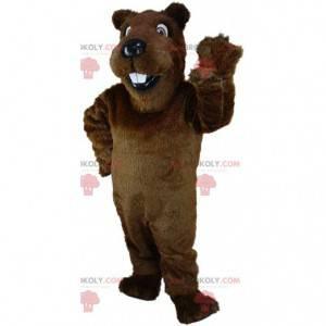 Mascotte castoro marrone, costume da roditore, castoro gigante
