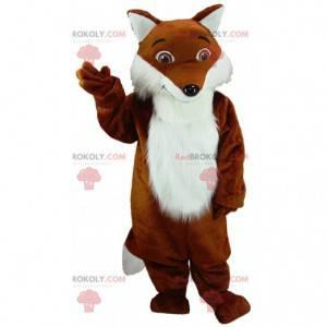 Mascote realista raposa laranja e branca, fantasia de raposa -