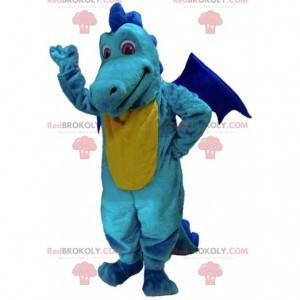 Geel en blauw draakmascotte, kleurrijk drakenkostuum -