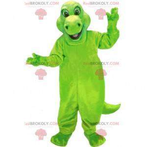 Zelený maskot dinosaura, obří, velký kostým dinosaura -