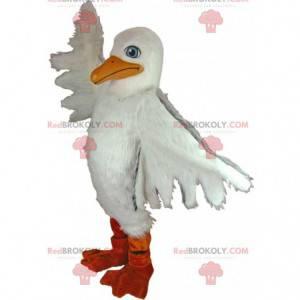 Mascotte reuze witte meeuw, pelikaan kostuum - Redbrokoly.com