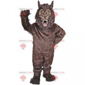Scary black werewolf mascot, dangerous animal costume -