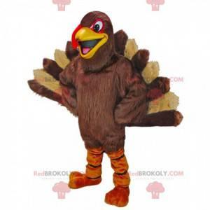 Giant turkey mascot, brown and beige turkey costume -