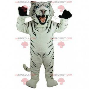 Mascotte tigre bianca e nera, costume da tigre reale -
