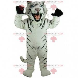 Witte en zwarte tijger mascotte, koninklijk tijgerkostuum -