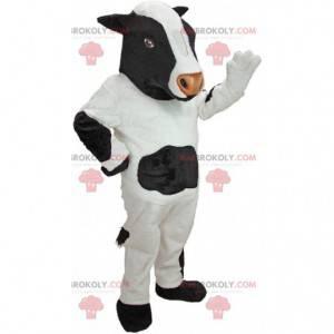 Maskot bílé a černé krávy, kostým hospodářských zvířat -