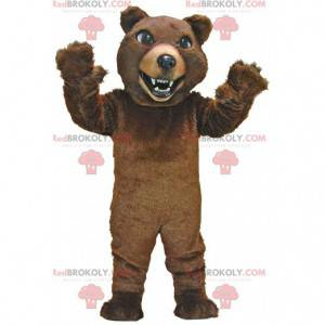 Velmi realistický maskot hnědého medvěda, kostým medvěda