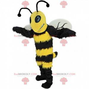 Mascotte van een zwarte en gele hommel, kostuum reusachtige