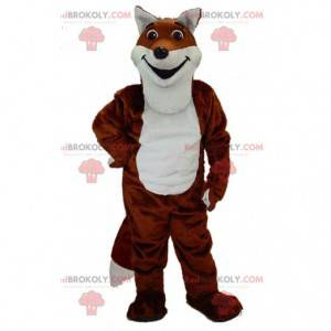 Mascotte realistica di volpe arancione e bianca, costume da