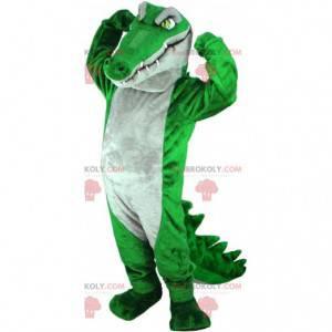 Mascote crocodilo verde e cinza muito impressionante e realista