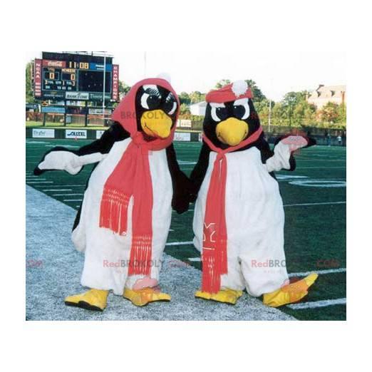 2 Schwarz-Weiß-Pinguin-Maskottchen - Redbrokoly.com