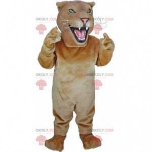 Beige lioness mascot, fierce feline costume - Redbrokoly.com