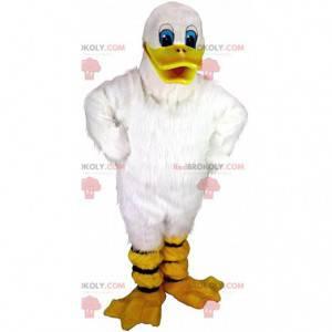 Mascote de pato branco, fantasia de pássaro gigante branco -
