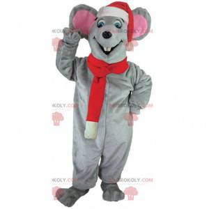 Gray mouse mascot with a Christmas hat and scarf -
