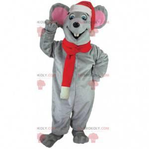 Grijze muis mascotte met een kerstmuts en sjaal - Redbrokoly.com