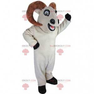 Animal mascote com chifres, fantasia de carneiro branco gigante