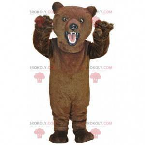 Velmi realistický maskot hnědého medvěda, kostým medvídka -