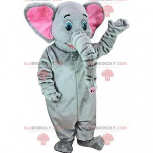 Mascote elefante cinza e rosa com uma grande tromba -