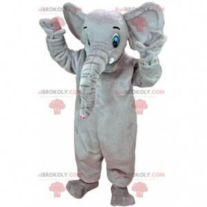 Mascotte grande elefante grigio con gli occhi azzurri -