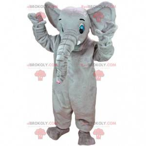 Maskottchen großer grauer Elefant mit blauen Augen -