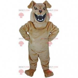 Brązowy buldog maskotka wyglądający groźnie, kostium psa -
