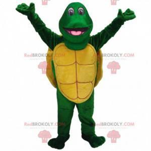 Groen en geel schildpad mascotte, groen dier kostuum -