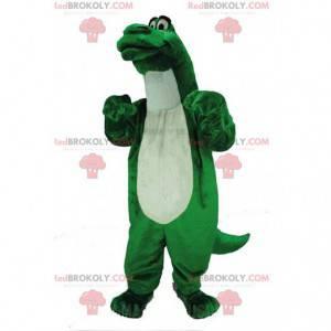 Mascotte di dinosauro verde, costume da dinosauro gigante e