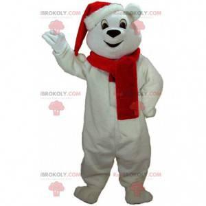 Weißes Teddybär-Maskottchen mit Mütze und Schal - Redbrokoly.com