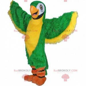 Mascote papagaio verde e amarelo, fantasia de animal exótico -