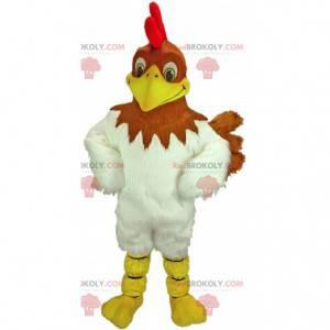 Mascote de frango marrom e branco, fantasia de galinha gigante