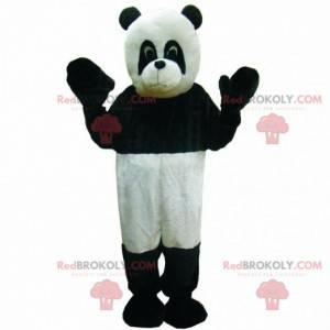 Maskot černé a bílé pandy, dvoubarevný kostým medvídka -