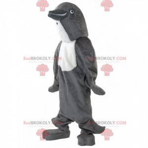 Grijze en witte dolfijn mascotte, schattig dolfijn kostuum -