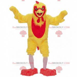 Gelbes und rotes Hühnermaskottchen, riesiges Hahnkostüm -