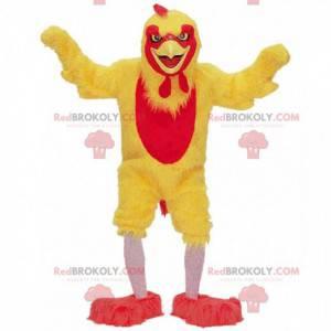 Mascotte gele en rode kip, kostuum gigantische haan -