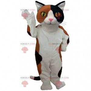 Mascote gato branco, marrom e preto com olhos amarelos -