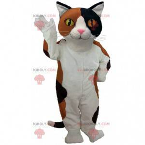 White, brown and black cat mascot with yellow eyes -