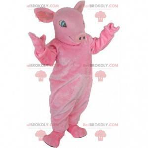 Mascote gigante porco rosa, totalmente personalizável -
