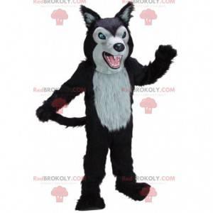 Mascotte lupo feroce nero e grigio, costume da lupo gigante -