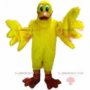 Mascote gigante de pato amarelo, fantasia de pássaro amarelo -