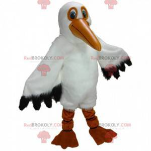 Mascote pelicano gigante, grande fantasia de ave marinha -
