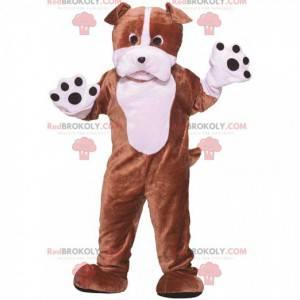 Hnědý a bílý pes maskot, dvoubarevný pejsek kostým -