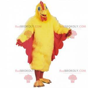 Žlutý a červený kuřecí maskot, obří kohoutí kostým -