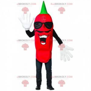 Maskottchen mit rotem Pfeffer und Schnurrbart, würziges Kostüm