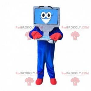 Mascota de computadora gigante con teclado y mouse -