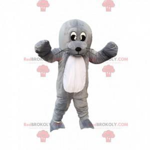 Leone marino mascotte, leone marino grigio gigante, costume da