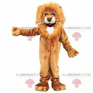 Mascotte bruine en witte leeuw, harig katachtig kostuum -