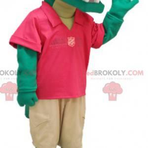 Grønn krokodille maskot i rødt og beige antrekk - Redbrokoly.com
