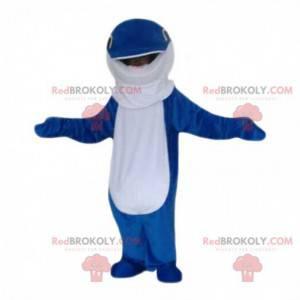 Mascote golfinho azul e branco, fantasia de peixe gigante -