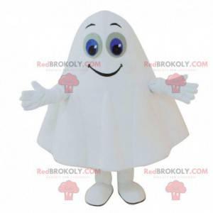 Hvid spøgelsesmaskot med blå øjne, spøgelsesdragt -
